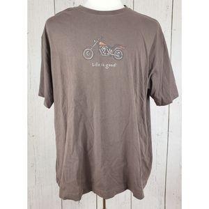 Life is Good Brown Motorcycle Tshirt